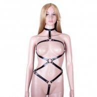 BDSM Δερμάτινο κορμάκι με περιλαίμιο και με ανοίγματα
