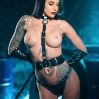 BDSM Δερμάτινο γυναικείο τοπ με περιλαίμιο/ζώνη