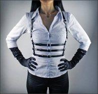 BDSM Δερμάτινο γυναικείο τοπάκι με άνοιγμα στο στήθος & 3 ζώνες