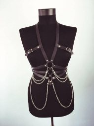 BDSM Δερμάτινο γυναικείο τοπ με διακοσμητικές αλυσίδες & λουριά