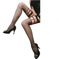 Black net stocking with gold studs