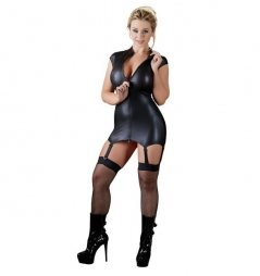 Shiny Mini Dress with Suspender Straps