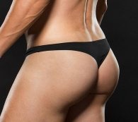 Low Rise Zip Thong Black