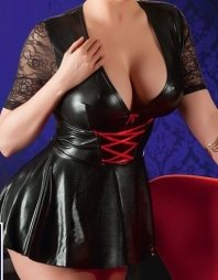 Plus Size Wetlook Dress with Lace Insert