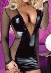 Cottelli Net Long Sleeve Mini Dress