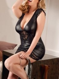 Plus Size Wetlook Mini Dress with Low Cut