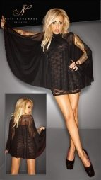 Noir Lace Dress with Tulle Cloak