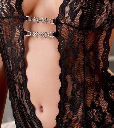 Black Lace Dress With Chains