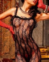 Ruffle Lace Bodystocking with Straps