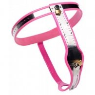 Pink Stainless Steel Adjustable Female Chastity Belt