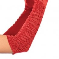 Red Ruched Satin Gloves