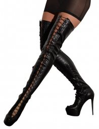 Thigh-high Boots with Lacing