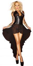 Noir Translucent Powernet Long Dress