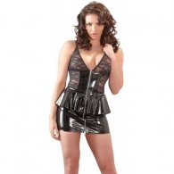 Seductive Vinyl Dress with Flared Waistline