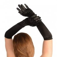One size elbow long black satin shiny Gloves