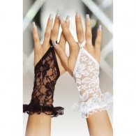White Lace Gloves with Fingerloop