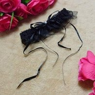 Black Floral Lace Garter with Rhinestone
