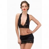 Daring Sally Bra with Skirt Black