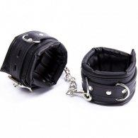 Adjustable soft leather Wrist Black cuffs
