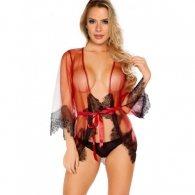 Unwrap Me Mesh Kimono with String Red