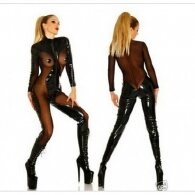 Naughty Toys Wetlook Jumpsuit with Mesh Inserts