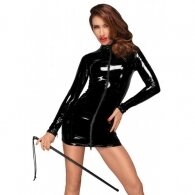 Noir Handmade PVC Mini Dress with 2-way Zipper