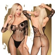 High Profile Off the Shoulder Bodystocking Black