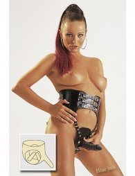 LEATHER STRAP WITH 3 DILDOS
