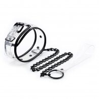 Clear Color Bondage Collar with Black Chain
