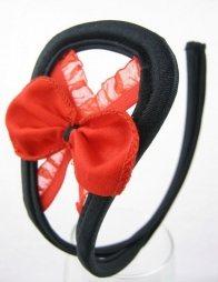 Γυναικείο c-string με φιόγκο σε μαύρο-κόκκινο