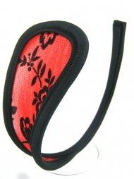 Κεντημένο γυναικείο c-string σε κόκκινο-μαύρο