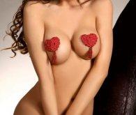 Κόκκινο κάλυμμα στήθους με λουλούδια και φούντα Nipple Cover