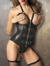 Δερμάτινο κορσάζ με g στρινγκ Leather Corset