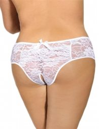Plus size white panty with lace and bow