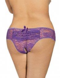 Plus Size Purple Open Crotch Lace Sexy Panty