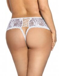 Plus size white panty with lace