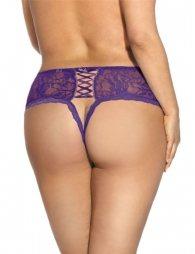 Plus Size Purple Open Crotch Panty