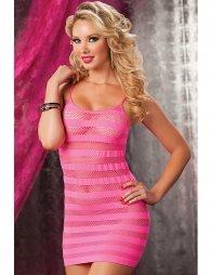 Pink Crotchet Stripey Hollow-out Mini Chemise Dress