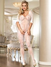 White net bodystocking with sleeves