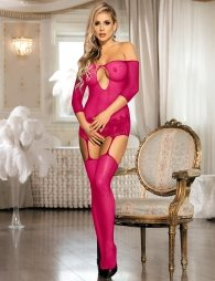 Pink Bold Cutouts Crotchless Fishnet Bodystockings