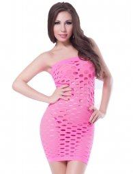 Στράπλες Ροζ Διχτυωτό φόρεμα Sexy Dress