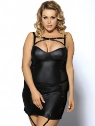 Plus size Μαύρο φόρεμα με g στρινγκ