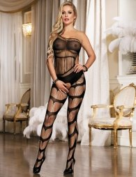 Sheer Strappy Swirl One Shoulder Black Bodystocking