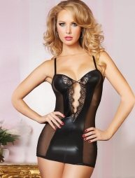 Μαύρο δερμάτινο φόρεμα με διαφάνεια και στρινγκ Leather Chemise