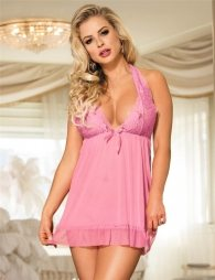 Pink Backless Halter Sexy Babydoll