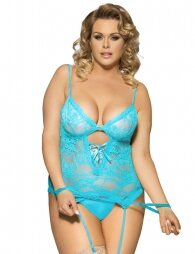Blue Lace Round Open Back Plus Size Corsaz