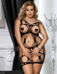Plus Size Sexy Black Dress with fence