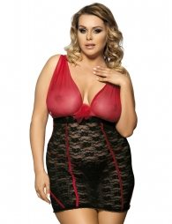 Plus Size Red And Black Lace Open Cup Chemise Dress
