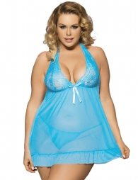 Plus Size Light Blue Open Back Elegant Lace Chemise