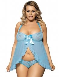 Plus Size Blue Babydoll with G string